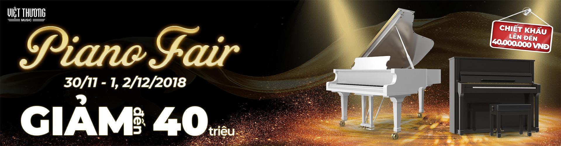 """Ưu đãi hấp dẫn chào đón sự kiện Piano Fair 2018 Đến với Hội chợ triển lãm Piano Fair 2018 từ ngày 30/11 – 2/12/2018, khách tham quan sẽ có cơ hội nhận nhiều quà tặng hấp dẫn từ chương trình và đặc biệt sẽ được hưởng ưu đãi rất lớn lên tới 40 triệu đồng khi mua các sản phẩm đàn piano cơ của những thương hiệu nổi tiếng trên thế giới. Tiếp nối sự thành công của Piano Fair 2017, Piano Fair năm nay sẽ diễn ra tại Gian 16-18, TTTM Royal City, 72A Nguyễn Trãi, Hà Nội. Sự kiện quy tụ nhiều thương hiệu piano hàng đầu thế giới như Kawai, Boston, Kohler & Campbell, Samick, Essex,…, hứa hẹn sẽ mang đến niềm cảm hứng mới và đáp ứng nhu cầu thưởng thức của các tín đồ yêu âm nhạc. Với mục đích mang đến cho khách hàng nhiều sự lựa chọn hơn trong nhu cầu mua sắm đàn piano, Việt Thương sẽ mang đến cho những người yêu thích piano cơ hội sở hữu những sản phẩm mơ ước từ lâu với giá chiết khấu cực hấp dẫn. Từ ngày 28/11 đến ngày 9/12/2018, khách hàng trên toàn quốc sẽ được mua những sản phẩm piano cơ với mức ưu đãi khủng: đàn piano grand giảm tới 40 triệu đồng/cây trong khi đàn piano upright cũng giảm lên tới 20 triệu đồng/cây. Đến với sự kiện này, Việt Thương Music không chỉ muốn khách tham quan có dịp được trải nghiệm các sản phẩm đàn piano mới nhất và cao cấp nhất, mà quan trọng hơn chính là thể hiện được mối liên hệ giữa con người và âm nhạc thông qua không gian trưng bày được sắp xếp độc đáo và ấn tượng. Với Việt Thương Music, nhạc cụ không đơn thuần là phương tiện để trình diễn, mối liên kết giữa chúng với chủ nhân phải đặc biệt hơn thế, nhất là khả năng khơi dậy và truyền nguồn cảm hứng cho người chơi. Triển lãm Piano Fair 2018 không chỉ là cơ hội để khách tham dự mãn nhãn với đại tiệc âm nhạc hoành tráng mà còn trải nghiệm không khí lễ hội với nhiều hoạt động tương tác từ Ban tổ chức. Các khách hàng tham dự Piano Fair 2018 vào 3 ngày diễn ra sự kiện 30/11, 1&2/12 sẽ còn được nhận thêm rất nhiều ưu đãi và phần quà hấp dẫn khác. Đặc biệt, đây chính là cơ hội tuyệt vời để bạn """"săn h"""