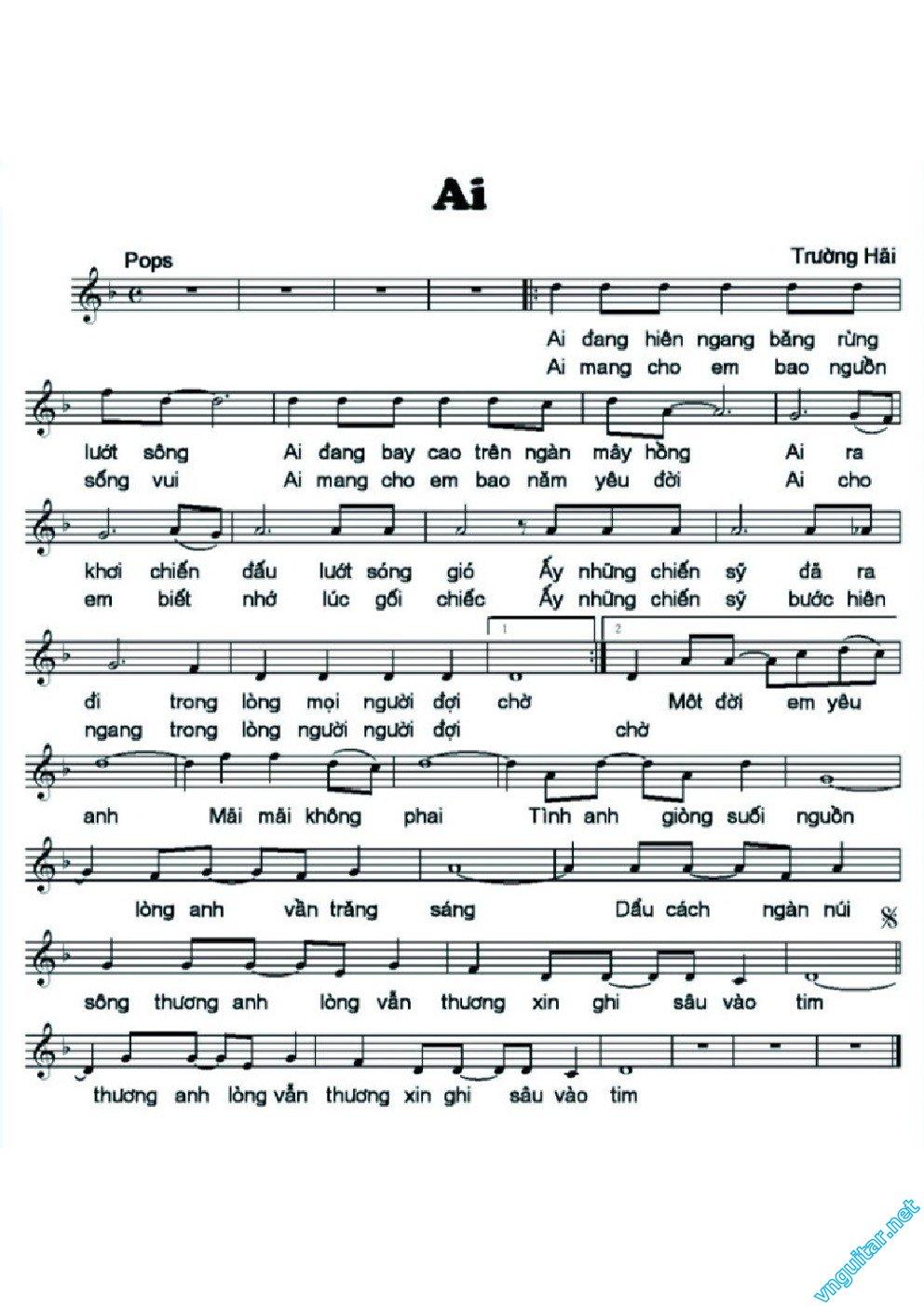 Sheet nhạc bài Ai