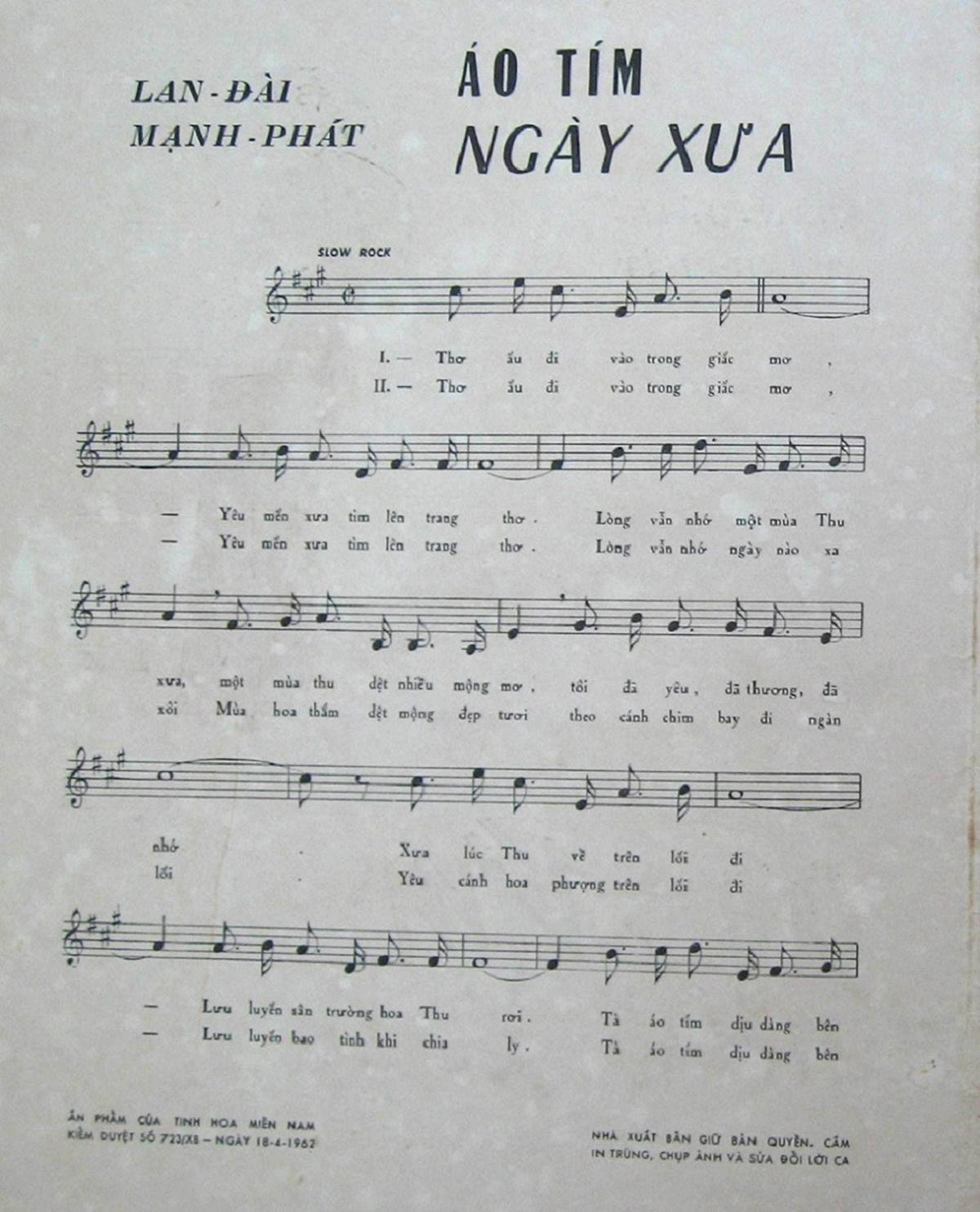 Sheet nhạc bài hát áo tím ngày xưa 2