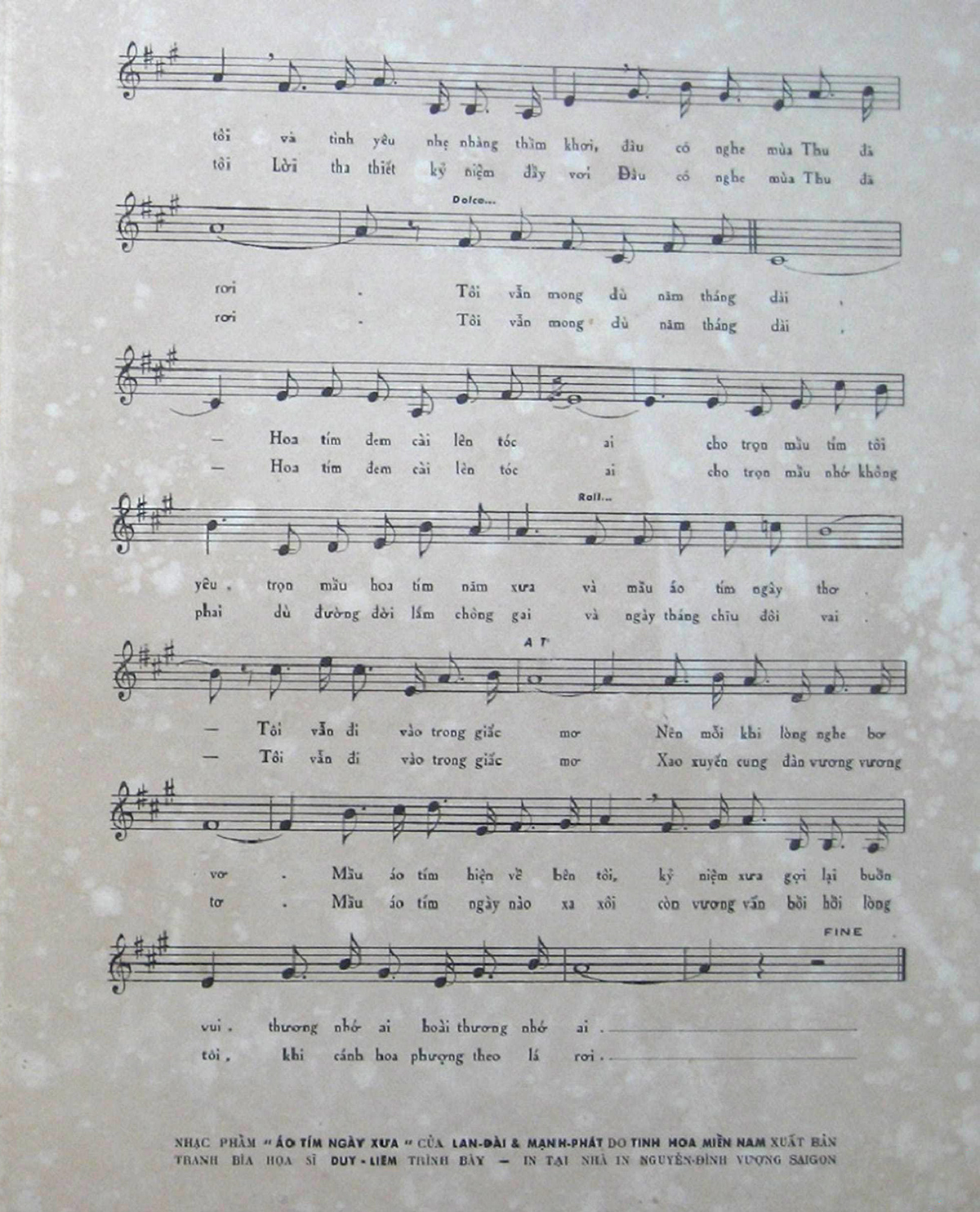 Sheet nhạc bài hát áo tím ngày xưa 3