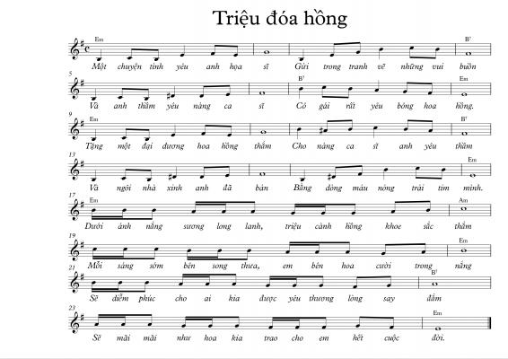 Sheet nhạc bài hát triệu đóa hồng