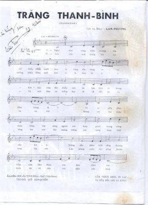 Sheet nhạc bài hát trăng thanh bình 1
