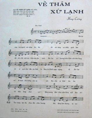 Sheet nhạc bài hát về thăm xứ lạnh 1