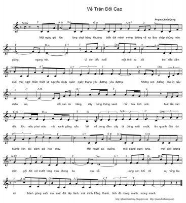Sheet nhạc bài hát về trên đồi cao